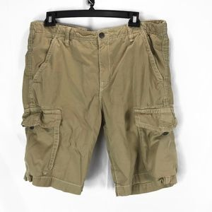 True Religion Mens Trooper Cargo Shorts 40 Tan